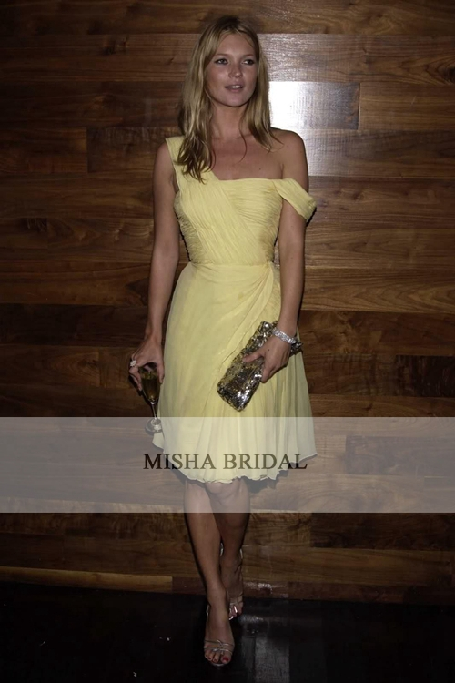 Kate Moss Yellow One shoulder Chiffon Celebrity Cocktail Party Dress Short  Prom Dress Bridesmaid Dress 2015-in Celebrity-Inspired Dresses from  Weddings ... a9fce4258ef6