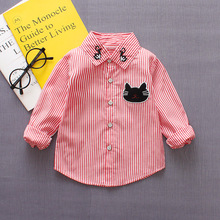2018 spring and autumn new Korean childrens clothing mens baby neckline cat long shirt stripes