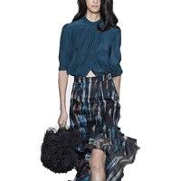2018 Для женщин летние с коротким рукавом топы и юбки комплект из 2 частей Для женщин блузка и длинные юбка «рыбий хвост» Bohenmian женские офисные