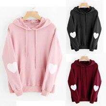 купить Korean style sweet love heart hooded   sweatshirt fashion pullover long sleeve hooded female sweatshirt hoodies дешево
