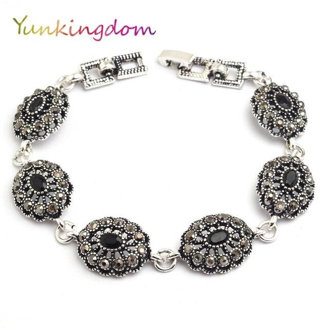 Yunkingdom Ethnic Style Vintage Jewelry Silver Color Bracelets for Women Black Resin  wholesale K1794