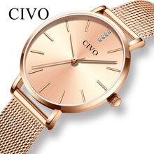 5a5b36215 CIVO الفاخرة أعلى العلامة التجارية ساعات يد مرصعة بالألماس النساء للماء روز  الذهب شبكة معدنية فستان بحزام السيدات سوار كوارتز سا.