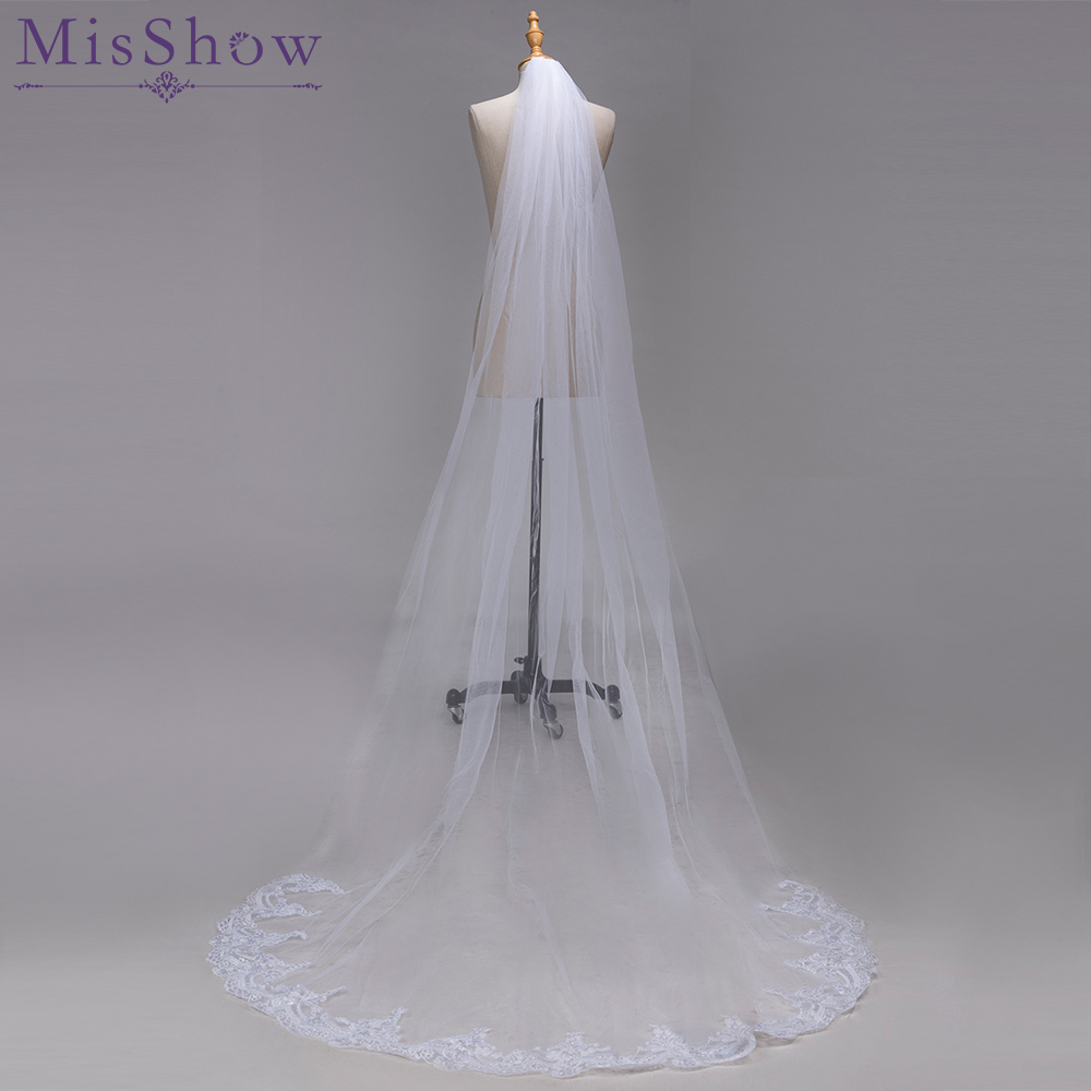 Hot Sale 3 Meter White Ivory Cathedral Wedding Veils Voile Mariage Long Lace Edge Bridal Veil With Comb Wedding Accessories