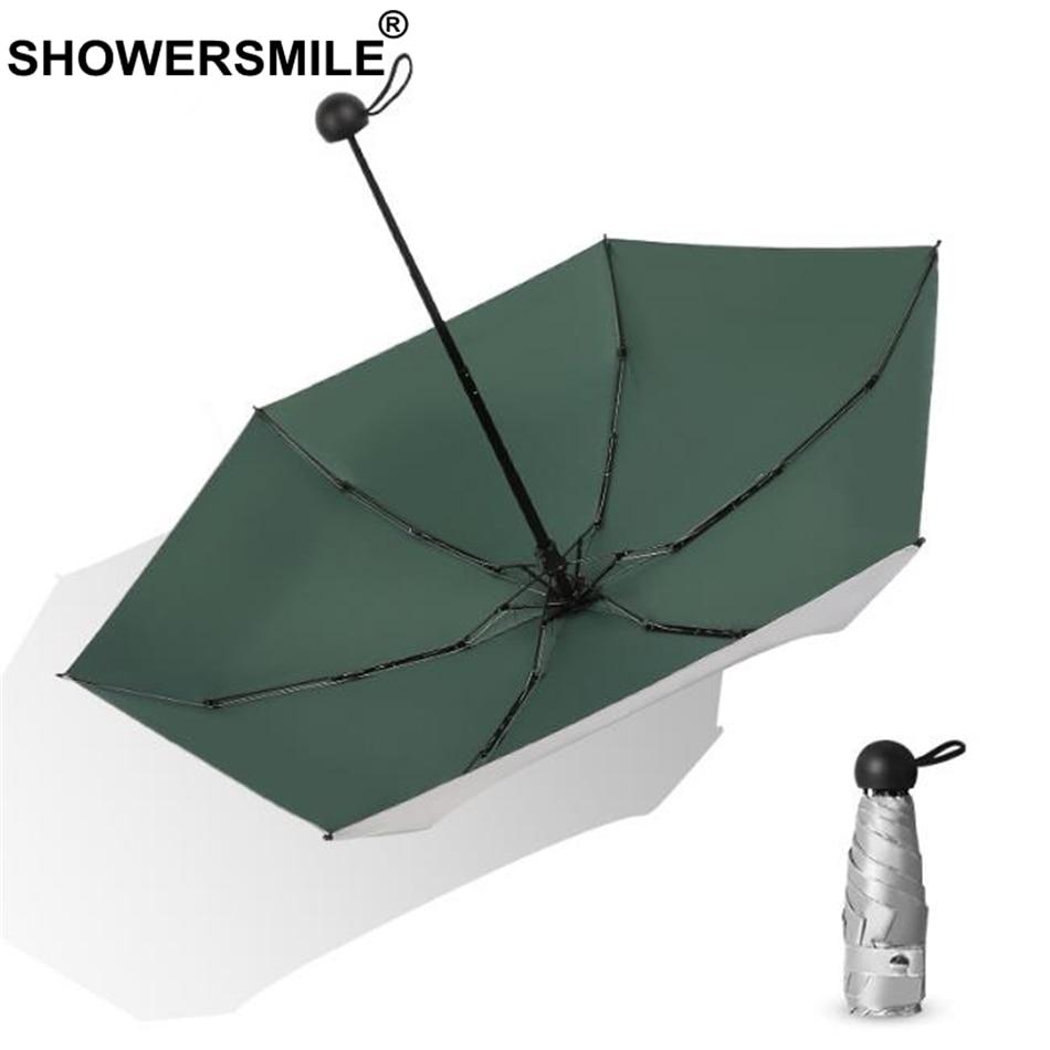 SHOWERSMILE Mini Parasol Umbrella Pocket Ladies Sliver Coating Female Green Travel Five-Folding Lightweight