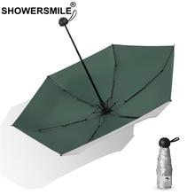 SHOWERSMILE Mini Parasol Umbrella Pocket Ladies Sliver Coating Female Green Travel Umbrella Five-Folding Lightweight Umbrella salzburg зальцбург city pocket the big five