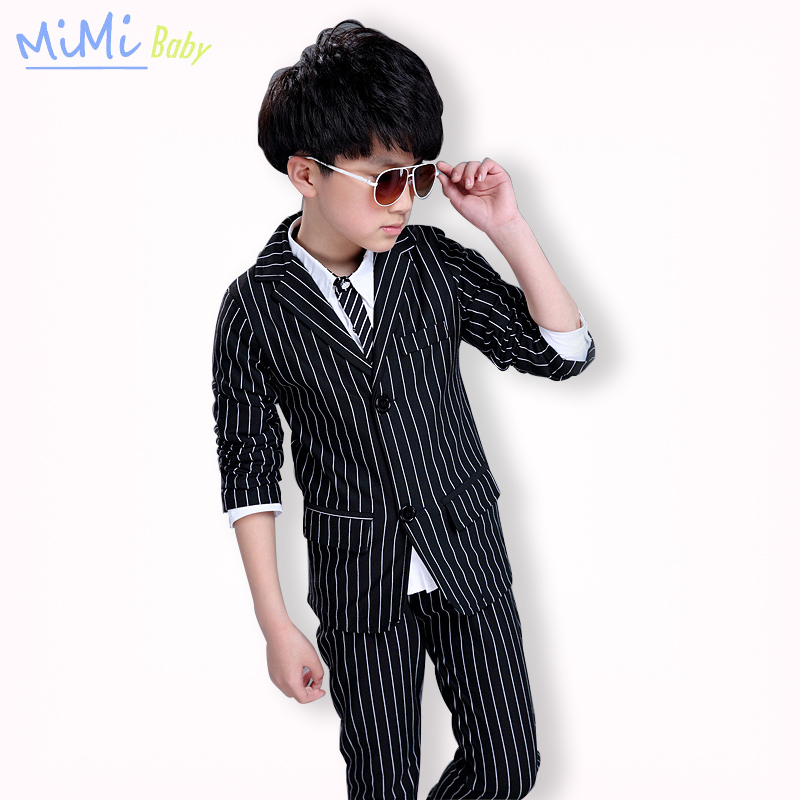4-12 Years Boy Wear 2017 Casual Stripe Blazers Cotton Children's Suit Child Two Piece Boys Suits for Wedding Boys Prom Suits 2016 new arrival fashion baby boys kids blazers boy suit for weddings prom formal wine red white dress wedding boy suits