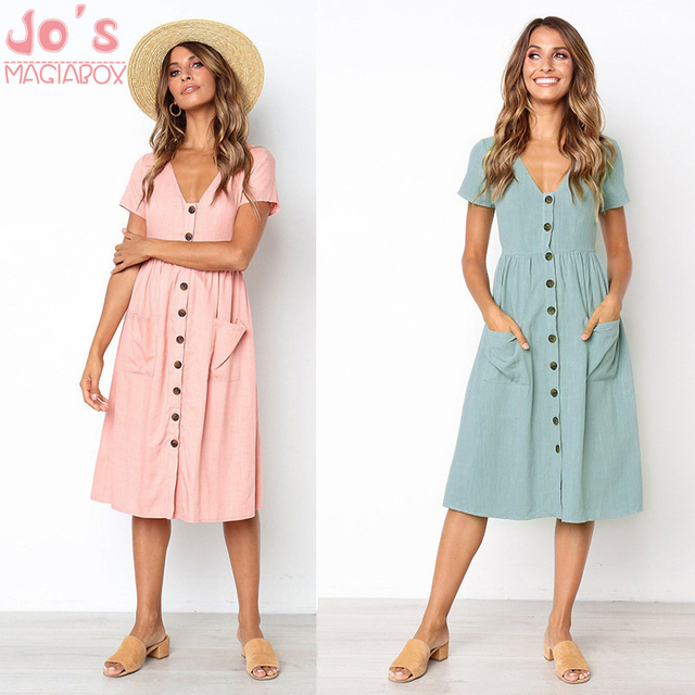 41260ac939d 2018 Women s Fashion Summer Short Sleeve V Neck Button Down Swing Midi Dress  with Pockets Beach Summer Dress