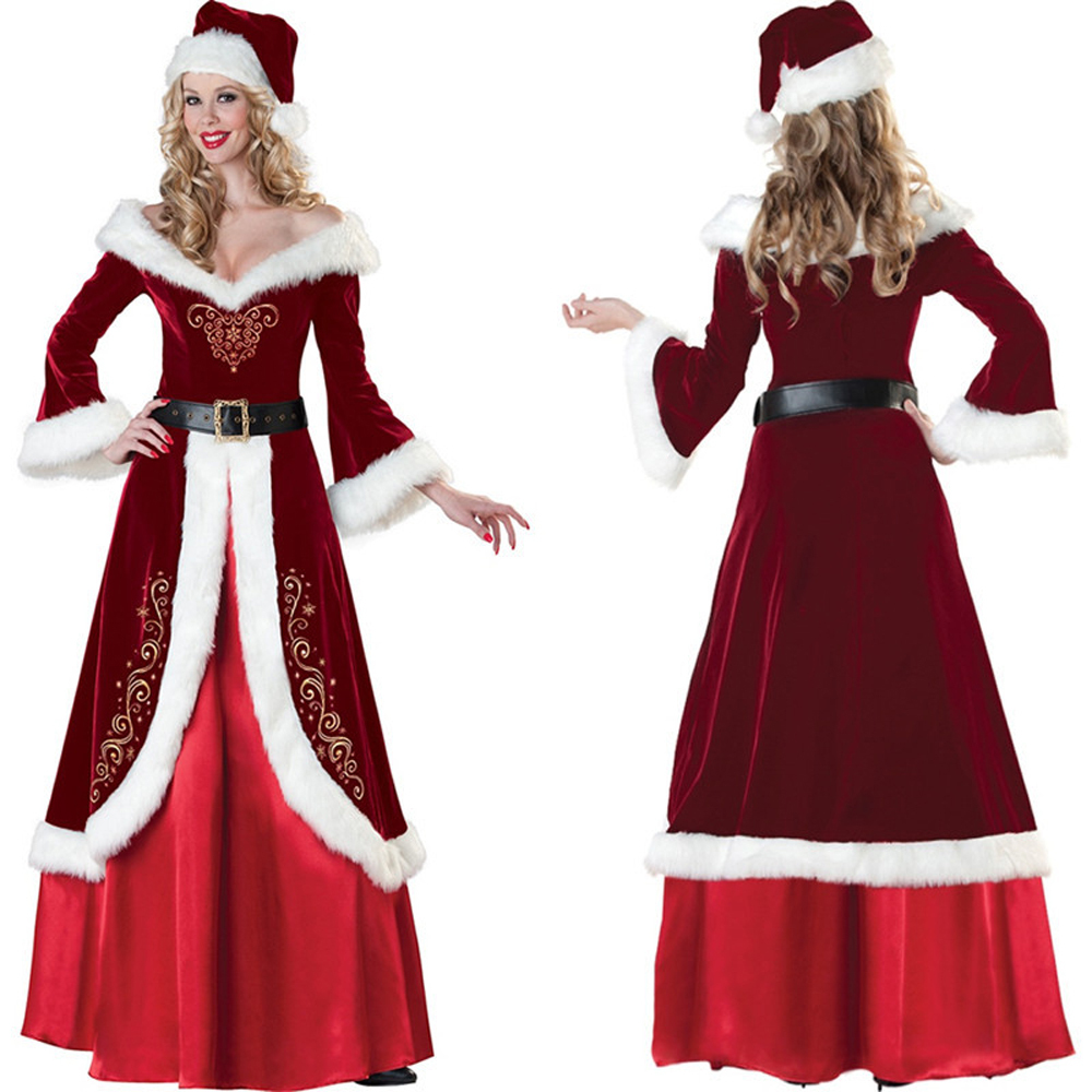 Women Luxury Christmas Queen Dress Princess Santa Costume Sexy Long