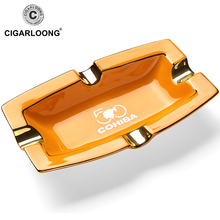 Square Black&Yellow Glossy Quality Ceramic Luxury Cigar Ashtray Holder Four Cigars
