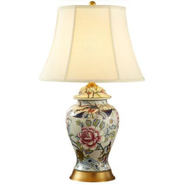 American Vintage Chinese Peony Phoenix Ceramic Table Lamp for Living ...