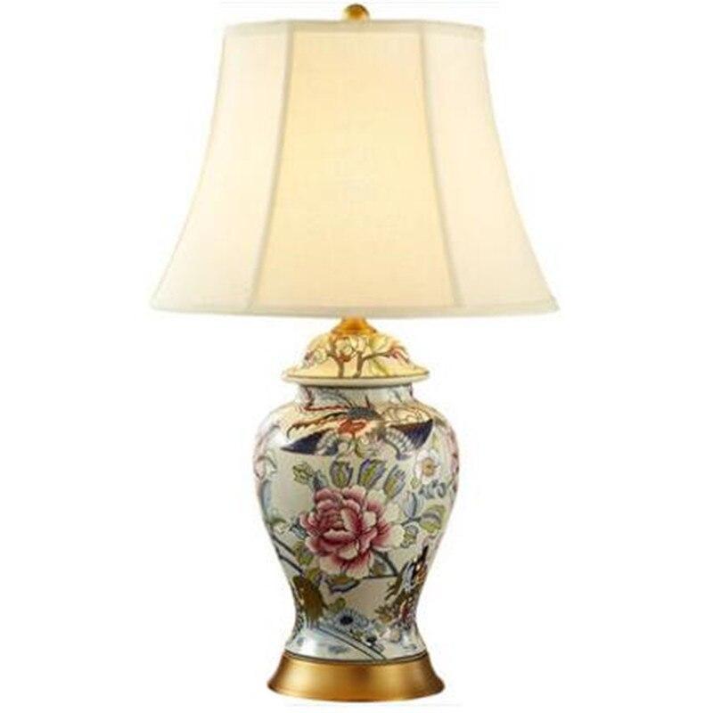 Lampe de Table américaine Vintage chinoise pivoine Phoenix en céramique pour salon projecteur d'hôtel lumière luxueuse en porcelaine H 67 cm 1695