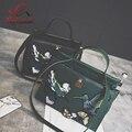 Boa qualidade da moda pássaro bordado retro senhoras bolsa tote ocasional ombro crossbody saco saco do mensageiro das mulheres sacos saco de morcego