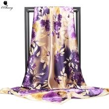 O CHUANG женский шелковый шарф, роскошный бренд, фиолетовый цветочный принт, квадратный платок, большая бандана, атласные шелковые шарфы, платок 90*90 см