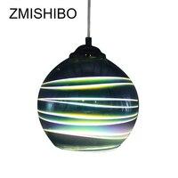 ZMISHIBO E27 LED Hanglamp 3D Kleurrijke Streak Glas Drop Lights Chroom Lampenkap 15/20 CM Diameter Opknoping Lamp voor Slaapkamer