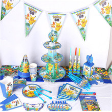 Pokemon Pikachu Party Decoration Kids Favor Supplies Banner/Gift Bag /Birthday Plate Popcorn Cup Birthday