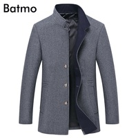 Batmo 2017 new arrival winter high quality wool men's gray Single Breasted trench coat,winter coat men ,plus-size M,L,XL,XXL,3XL