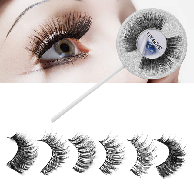 1 Pair Handmade 6 Styles Lollipop Natural False Eyelashes Cross Long Eye Lashes Handmade Beauty Makeup Extension Tools False Eyelashes
