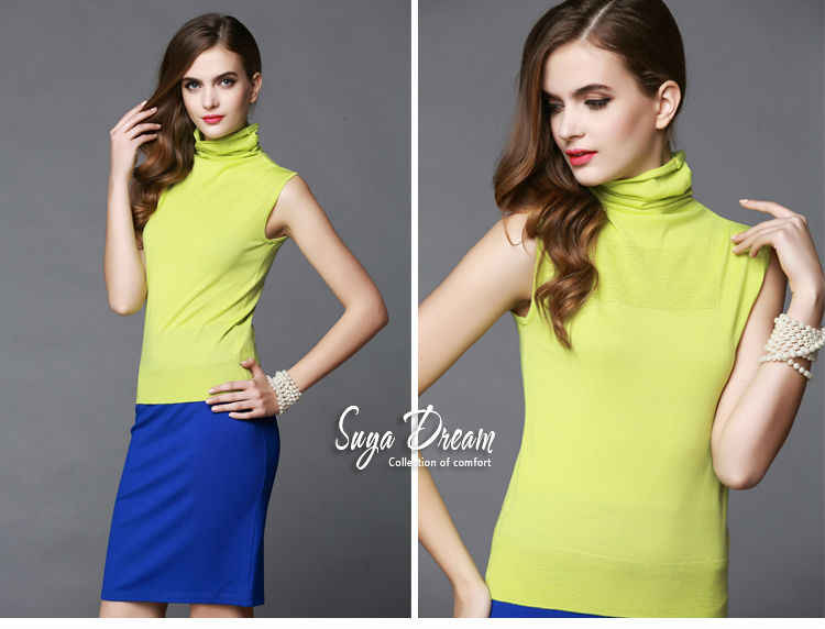 100% MERINO WOL vrouwen mouwloze solid ribben knit coltrui Hopen kraag truien VEST trui Fall Winter Basics nieuwe 002