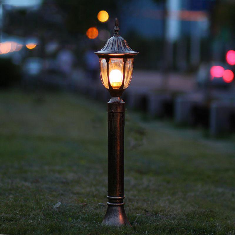 Modes dārza zāliena spuldzes vintage āra apgaismojums piemājas zālienu bollards apdare lampki ogrodowe