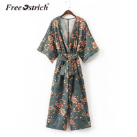 Free Ostrich 2017 Women Vintage Kimono Shirts Sashes Side Split Long Sleeve Ladies Autumn Outerwear Long