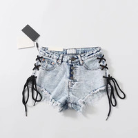 Sexy Summer Plus Size Women Denim Ripped Short Jeans High Waisted Tassel Elastic Lace Up Bandage