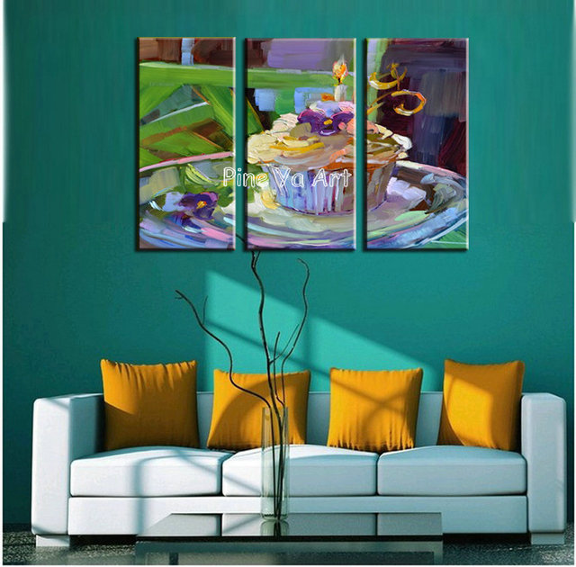 3 piece abstract modern canvas wall decorative Birthday cake picture
