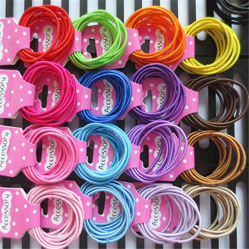 50 Pcs Headband Candy Solid Hair Ropes Ponytail Holders Bright Silk Rubber Elastic Hair Band Hair Accessories for Girls 50 pcs lot 3cm candy colour basic rubber band children kids elastic hair band baby girls hair rope accessories