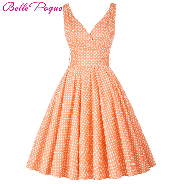 1c12e581caf0 Belle Poque Womens Summer Dresses 2018 Women Maggie Tang 50s 60s Robe  Vintage Retro Pin Up Swing Polka Dot Tea Rockabilly Dress