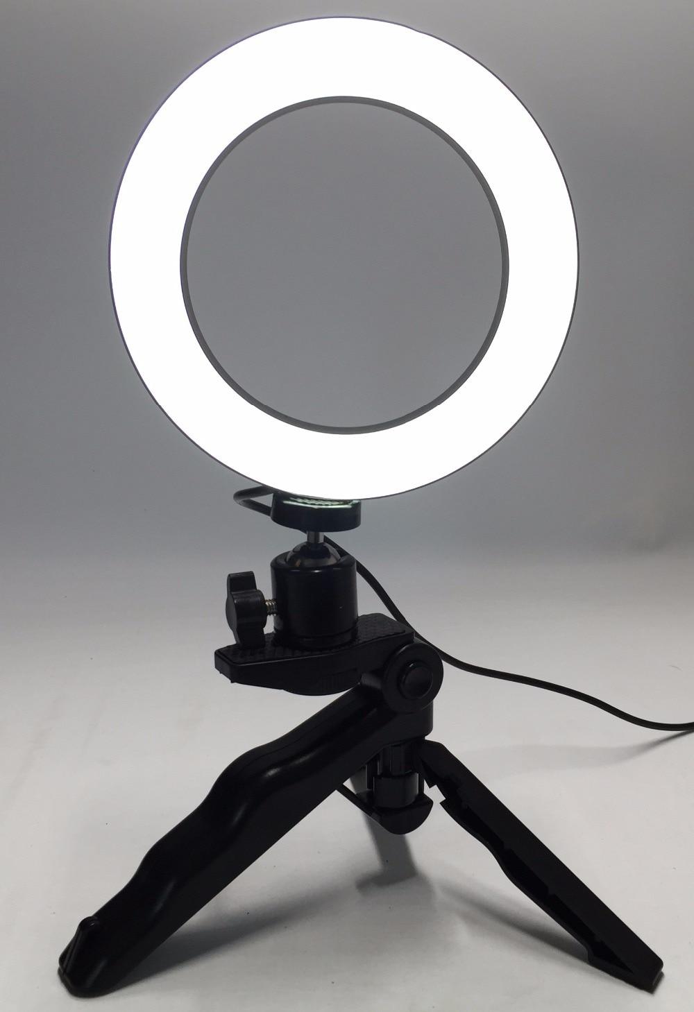 Photo Ring LED 14.5cm Photographic Lighting+Tripod Phone Video Photography Ring Light USB Line 3000k-6000k White Yellow Color