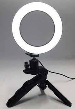 Foto Anel LED 14.5 cm Iluminação Fotográfica + Tripé Fotografia de Vídeo De Telefone Anel Linha USB Luz 3000 k-6000 k Branco Cor Amarela