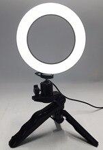 תמונה טבעת LED 14.5 cm תאורת צילום + חצובה טלפון וידאו צילום טבעת אור USB קו 3000 k 6000 k לבן צהוב צבע