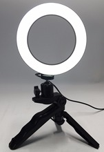 Photo แหวน LED 14.5 ซม. ถ่ายภาพแสง + ขาตั้งกล้องวิดีโอ Ring Light สาย USB 3000 k   6000 k สีขาวสีเหลือง