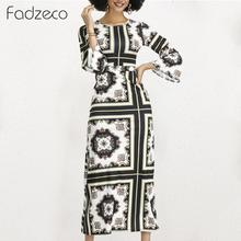 Fadzeco Women Dashiki African Dresses Elegant Flare Sleeve Crewneck National Tribal Print Long Maxi Dress Ethnic A-line Dress
