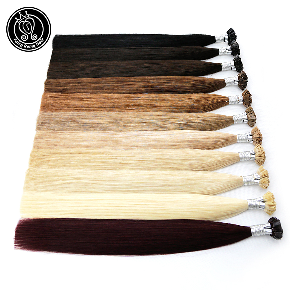 Fairy Remy Hair 0.8g/s 16 Inch Real Remy Flat Tip Human Hair Extension Silky Straight Dark Brown Pre Bonded Keratin Fusion Hair