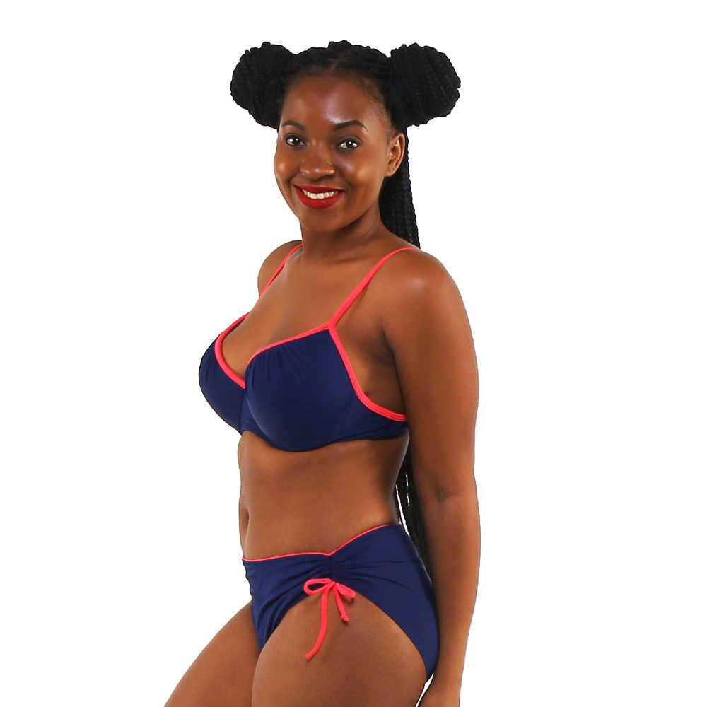 ビキニ女性水着セクシーなスリング低ウエストホルターディープvソリッドカラー大きいサイズビッグカップ入浴水着biquiniベルトスポーティ