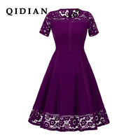 QI DIAN Hot Sale Womens Summer Lace Dress 2018 Vintage O Neck Slim Sexy Pin Up