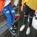 Novas Meninas Da Forma calças de brim buraco rasgado jeans para crianças calças jeans calças de ganga Pretas calças menina calças jeans angustiados KD137