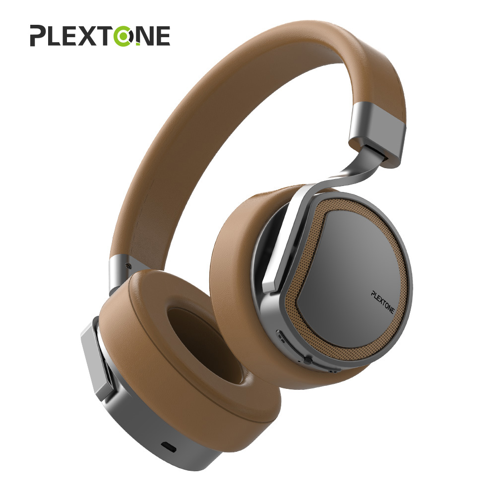 PLEXTONE Active Noise Cancelling Wireless Bluetooth Headphones with Microphone Hi-Fi Stereo Headset Deep Bass Over Ear Headphone sound intone 3 5mm in ear style hi fi handsfree headphone w microphone black cable 110cm