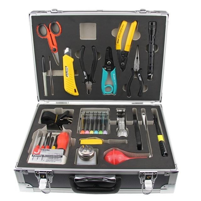 19PCS FTTH Fiber optic cable construction toolbox KL-08C Maintenance Construction Kit Kevlar scissors Transverse stripping knife