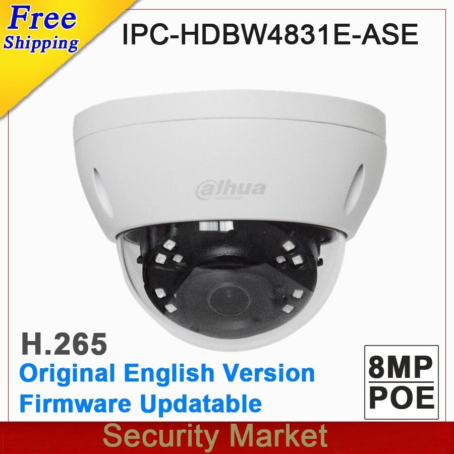 Original dahua English version IPC HDBW4831E ASE 8MP POE IR mini dome network camera CCTV IP