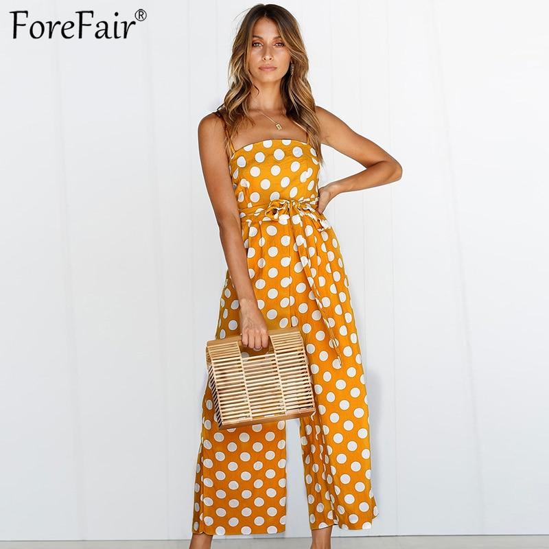 Forefair Polka Dots Sexy   Jumpsuit   for Women 2018 Autumn Yellow Green Sleeveless Off Shoulder Elegant   Jumpsuit   Winter