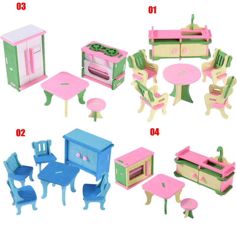 Mini Wooden Simulation Dollhouse Furniture Set Kids Children Educational Toy Room Bedroom Pretend Play Dolls Toy Kids Xmas Gift goplus kids wooden toy shop market children shopping pretend play set colorful toddler baby christmas birthday gift hw56112