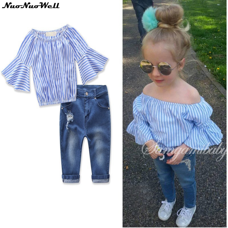 2018 2pcs Kids Baby Girl Fashion Strip Top+Denim Pants Girl Flare Sleeve Jeans Spring Summer Outfits 2-7Y Girl's Fashion Sets 2pcs children outfit clothes kids baby girl off shoulder cotton ruffled sleeve tops striped t shirt blue denim jeans sunsuit set