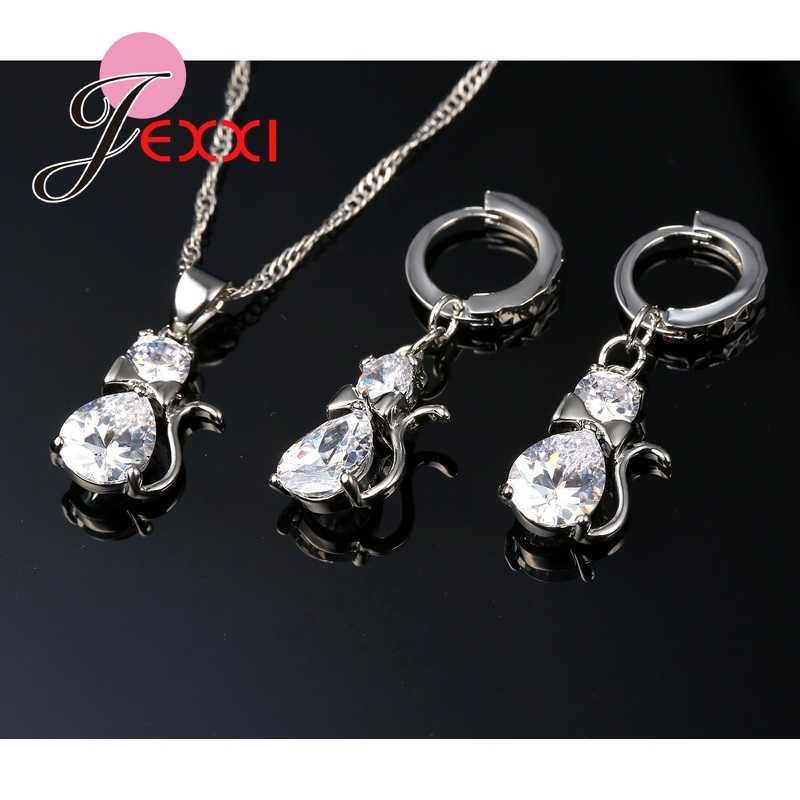 Nette Bogen Katze Mädchen Partei Schmuck Zubehör 925 Sterling Silber Frauen Waterdrop Ohrringe Halskette Anhänger Bijoux Sets