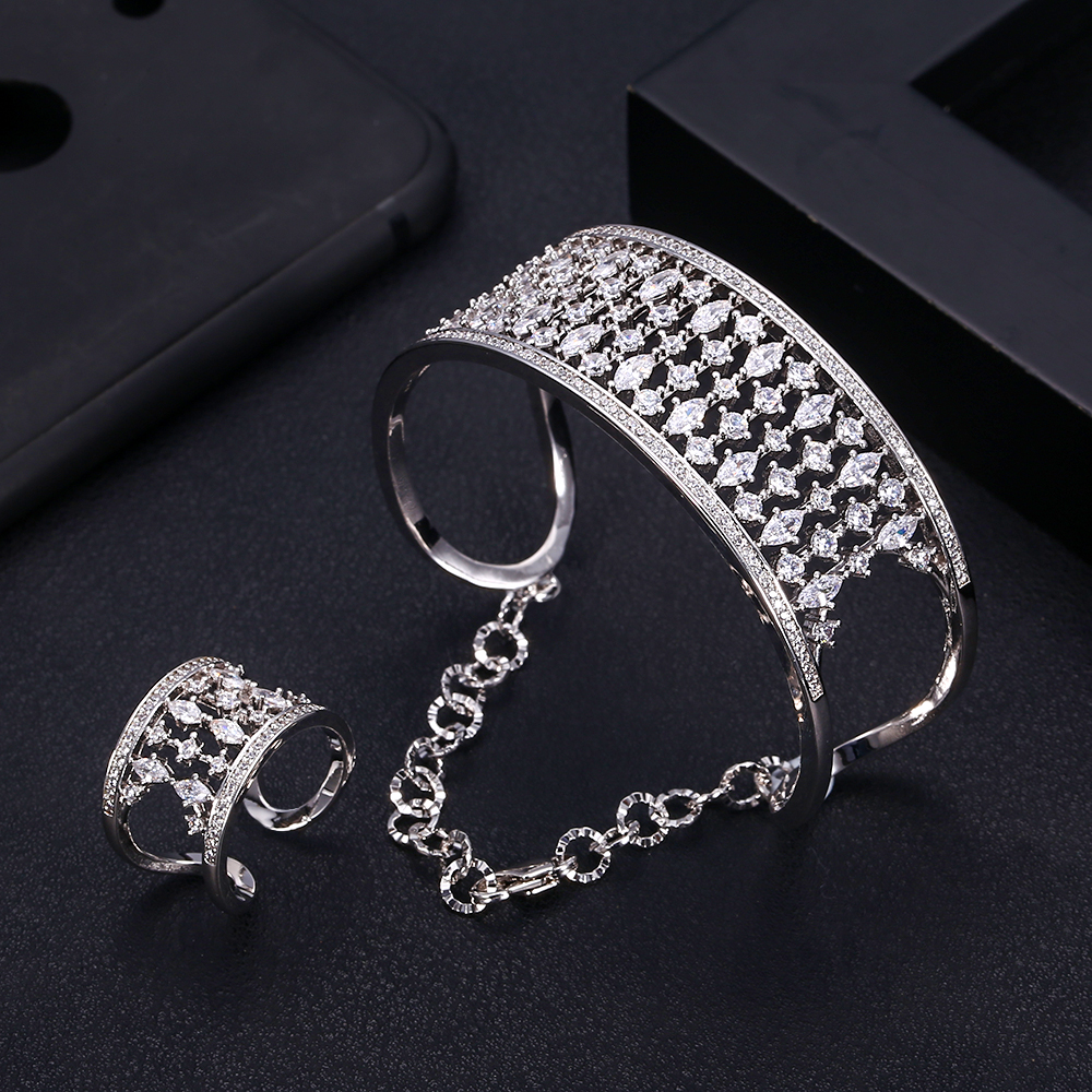 Bangle-Ring-Sets Bridal-Jewelry-Sets Jankelly Dubai Silver Wedding-Brincos Fashion Women
