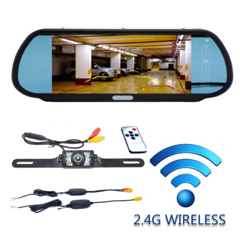 "7/"" LCD Screen Car Rear View Backup Mirror Monitor+Wireless Reverse IR Camera Kit"