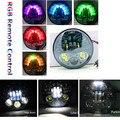 5.75 Farol para Harley Dyna Rua Bob Super Glide RGB Controle remoto com Led High baixo Feixe de luz de Estacionamento Harley Daymaker