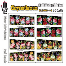4 Sheets/Lot Sticker For Nail BLE/M11-14 Ful Cover Black Flower Nail Art Wrap Water Sticker for Nail Art Tips(4 DESIGNS IN 1)(China)