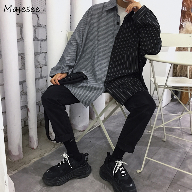Shirts Men Patchwork Leisure Loose Oversize Simple Korean Style All-match Retro Harajuku Shirt Mens Long Sleeve Soft Daily Chic