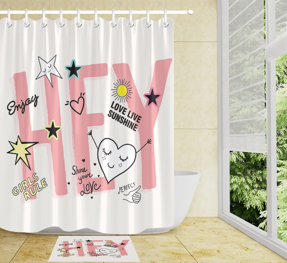 White Black Shoe and Crystal Shower Curtain Bathroom Mat Polyester Fabric Hooks